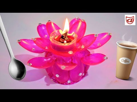 Diwali Diya Stand from paper cup and plastic spoon | Candle holder making with waste materials