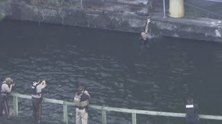 Web Extra: Police Chase Suspect Spotted In Water