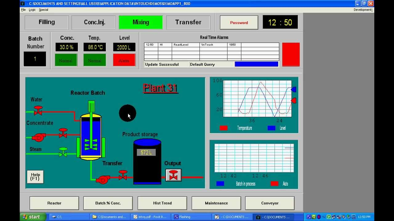 Wonderware Intouch SCADA Reactor Tank demo application
