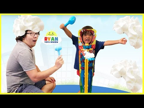 PIE FACE SKY HIGH CHALLENGE Parent vs Kid! Whipped Cream Family Fun Games for kids Surprise Toys