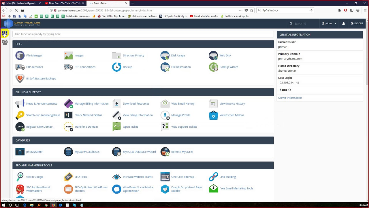 cPanel Tutorial 04 phpmyadmin, MySQL Databases - YouTube