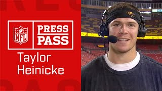 """Taylor Heinicke on TNF Win """"Last year this time I was at home taking classes""""   NFL Press Pass"""