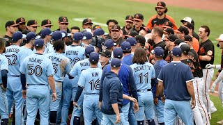 Benches clear between Orioles, Blue Jays after Maikel Franco gets beaned