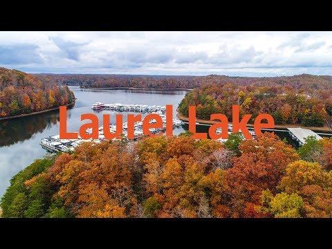 Laurel Lake in Fall Drone Video