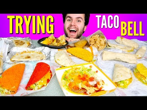 TRYING TACO BELL'S WHOLE DOLLAR MENU! - Tacos, Burritos, & Nachos Taco Bell Fast Food Taste Test!