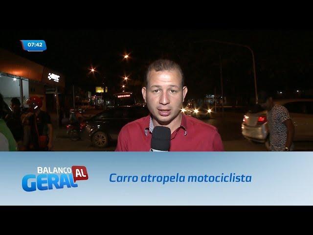 Carro avança sinal vermelho e atropela motociclista na Avenida Durval de Góes Monteiro