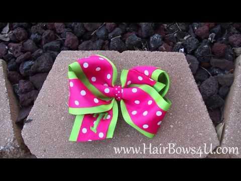 Lime Green Hot Pink Polka Dot Hair Bow - video demo