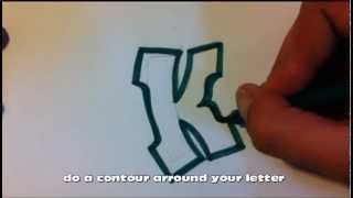 How to draw graffiti alphabet letters : K