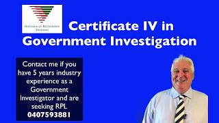 Australian Government Investigator Recognition of Prior learning Certificate IV