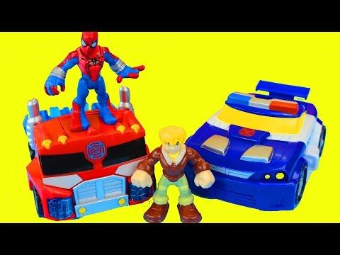 Transformers Rescue Bots Optimus Prime and Spider-Man Battle Imaginext Dinosaur Playskool