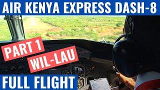 Air Kenya Dash-8 Full cockpit flight Wilson to Lamu in Kenya (Audio in sync)