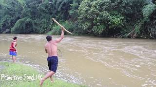 Primitive life: Skills Catch fish by tree in the river and cooking fish