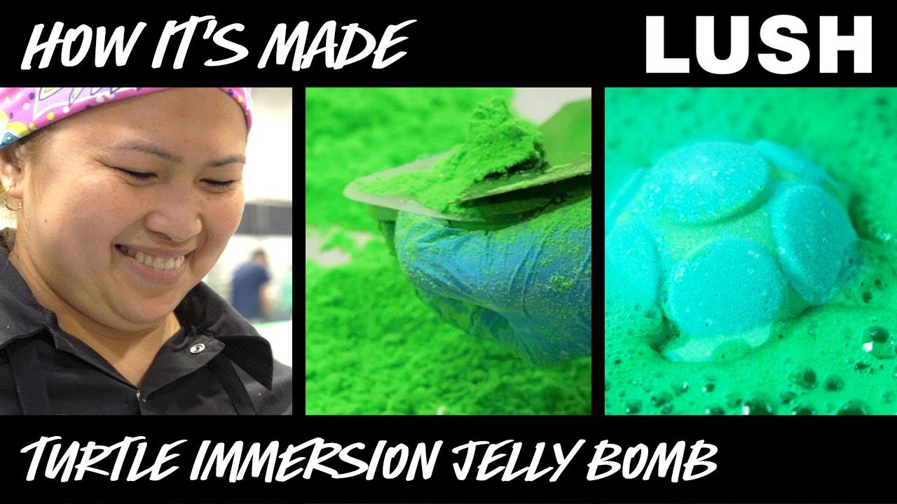 Lush How It's Made: Turtle Immersion Jelly Bomb