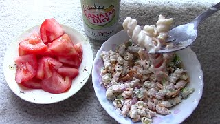Asmr (no Whisper) - Broccoli Pasta Salad, Tomato, And Diet Ginger Ale (requests)