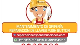 Instalación Grifería o Llave De Lavamanos Push Button, mantenimiento y reparación