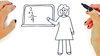 How to draw a Female Teacher Step by Step