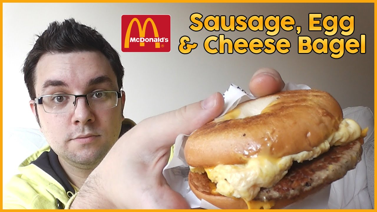 McDonalds Sausage Egg  Cheese Bagel ReviewYouTube