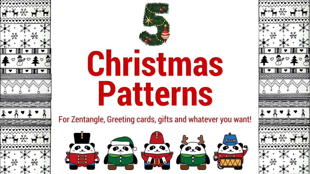 5 Easy Christmas Zentangle Patterns - YouTube
