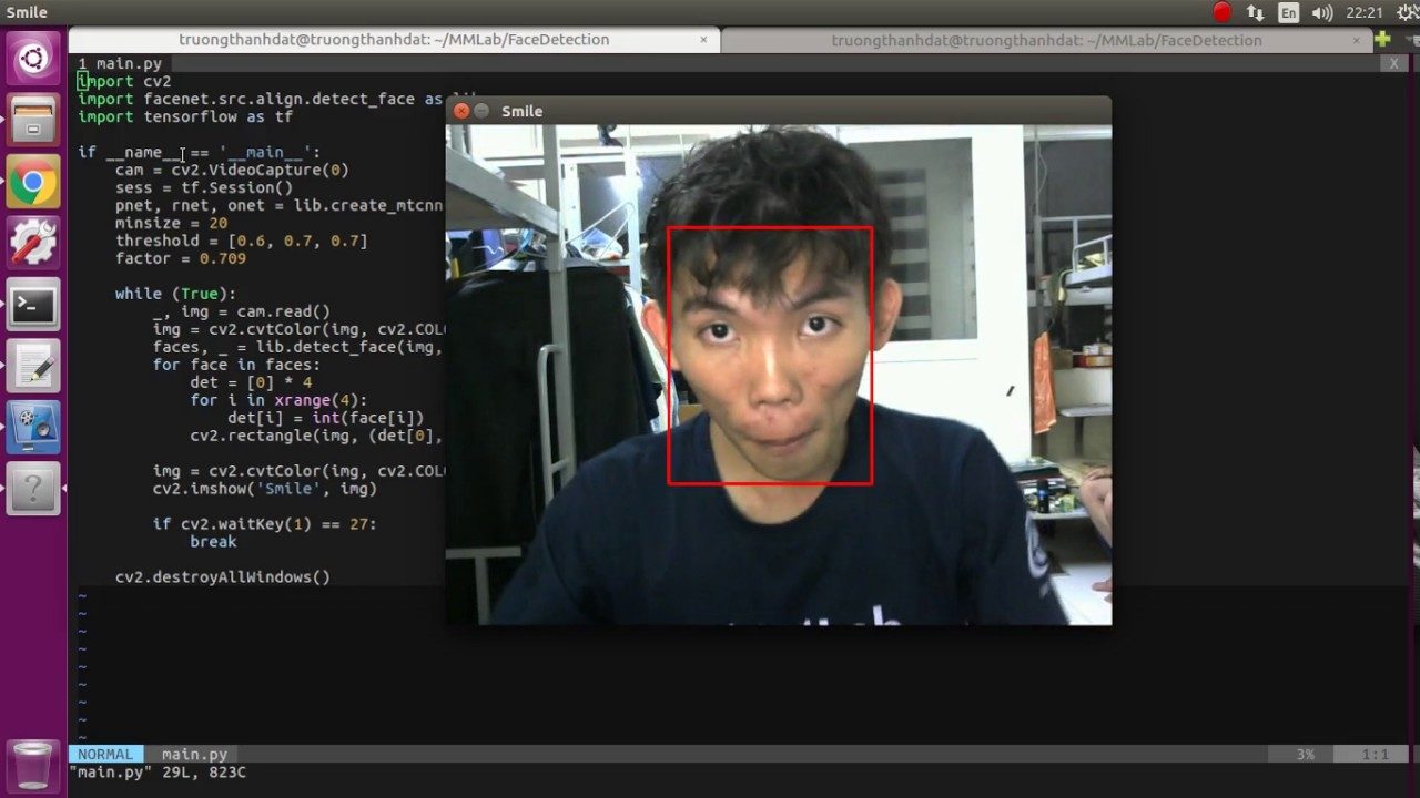 Real time face detection using MTCNN (on GPU)