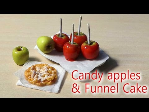 EASY; Miniature Candy Apple & Funnel Cake Tutorial - Halloween / Fall