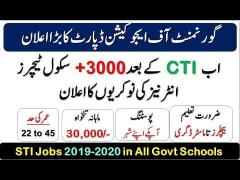 STI Jobs 2019-2020 | 3000 Vacancies Of School Teaching Internees In Govt Schools