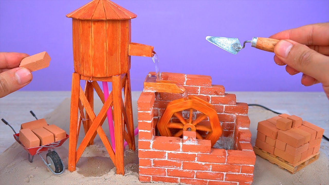 Amazing Mini WATER WHEEL made with Mini Bricks and Recyclable Materials