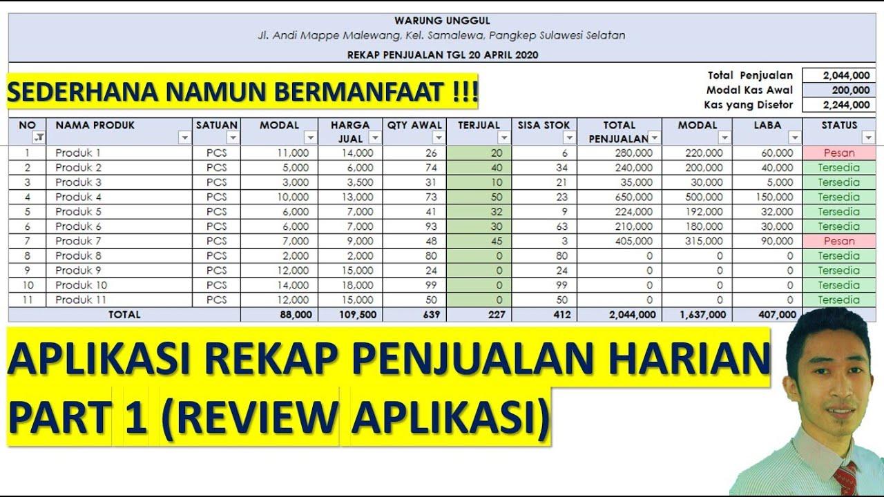 Aplikasi Rekap Penjualan Toko Atau Warung Menggunakan Excel Part 1 Review Aplikasi Youtube