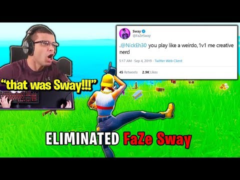FaZe SWAY *UPSET* when NICK EH 30 *DESTROYS* Him! (Fortnite)