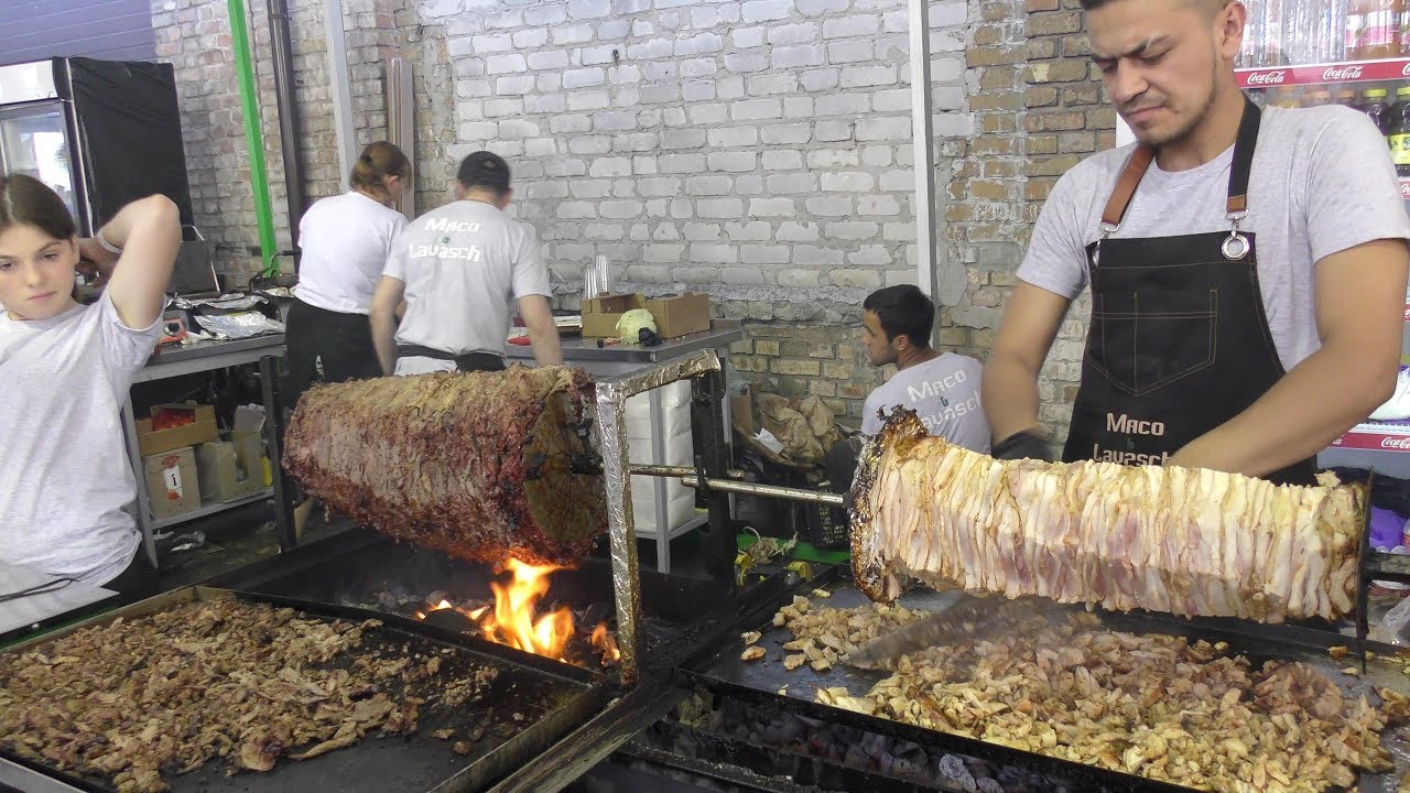 Enormous Horizontal Large Kebab and Wraps. Avenue Meals Kiev, Ukraine