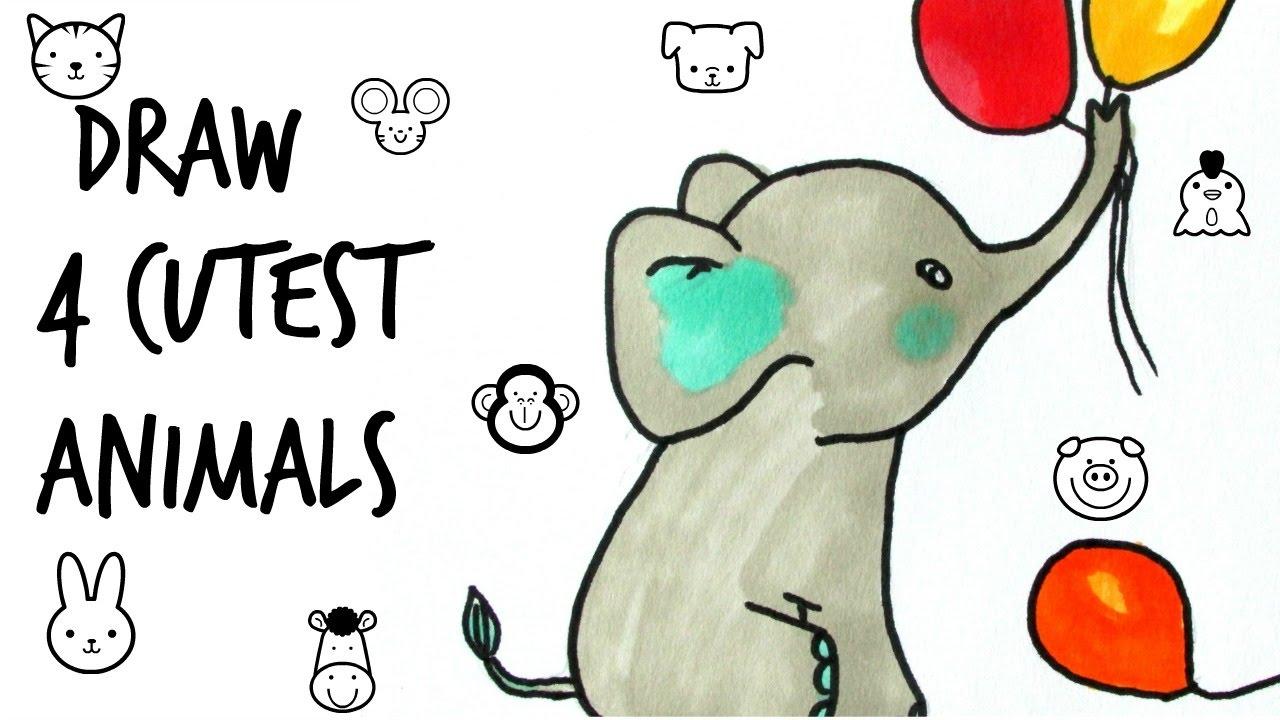 How To Draw Cutest Animals Cat Panda Elephant Youtube