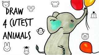 How to draw Cutest animals(/ cat /panda/elephant)