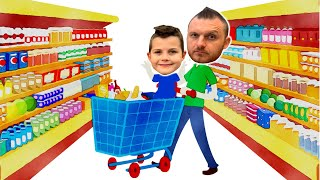 Pretend play supermarket with daddy