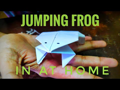 Jumping frog in at home  how to make paper frog  5-minute craft  tutorial