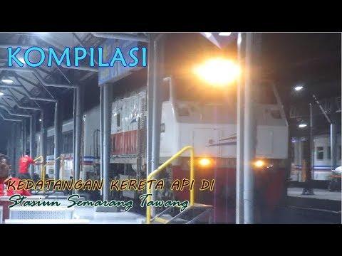 Kompilasi kedatangan kereta api di stasiun Semarang Tawang