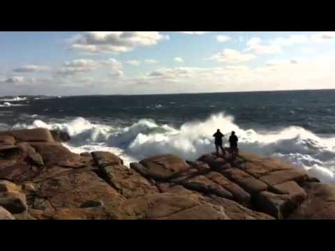 Waves crashing in Peggy's Cove, Nova Scotia - Canada!