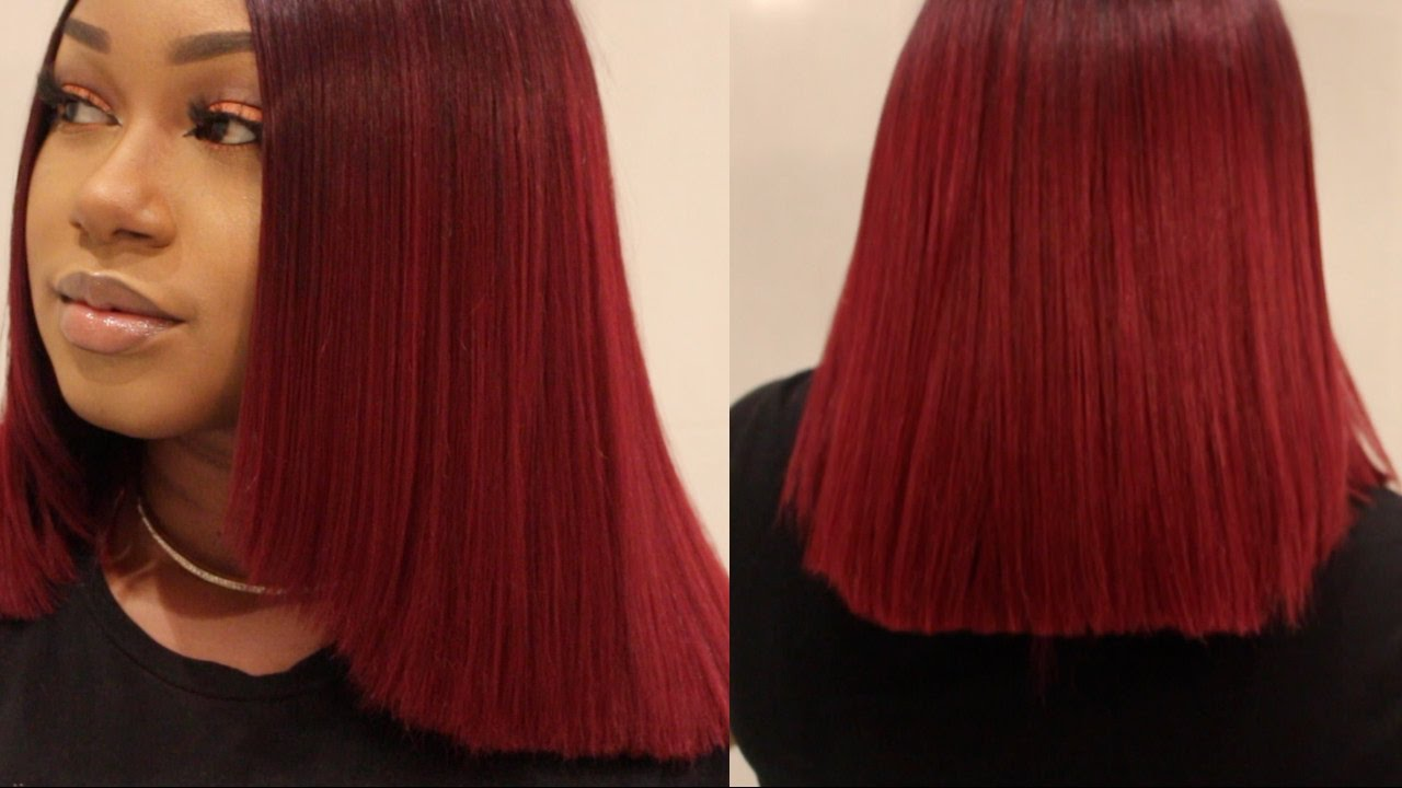 Diy How To Blunt Cut Burgundy Bob Thetashgrey