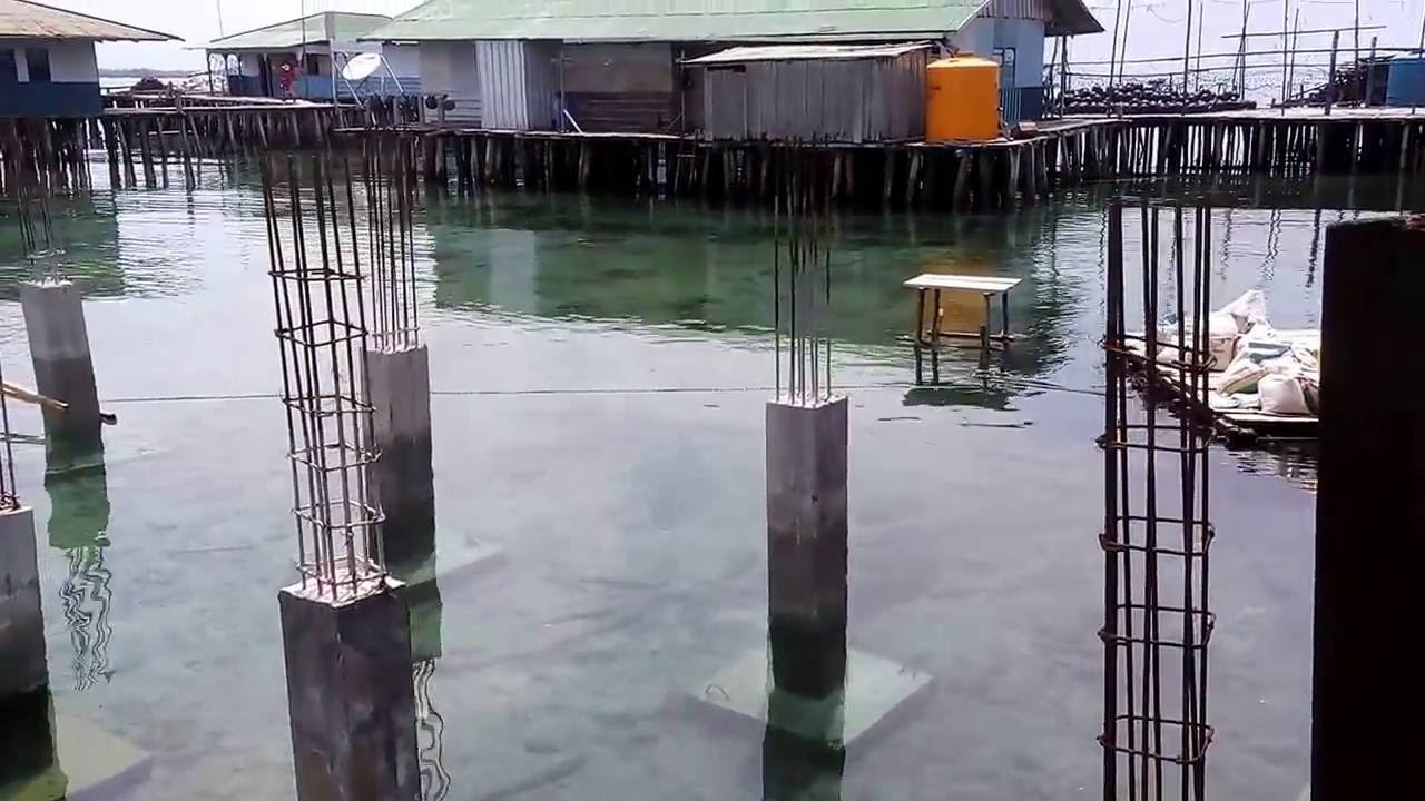 Pondasi Telapak Beton di Dasar Laut untuk Rumah Panggung