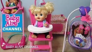 BABY ALIVE High Chair by You & Me + Real Surprises Doll Sophia + Snackin Sara + Better Now Baby