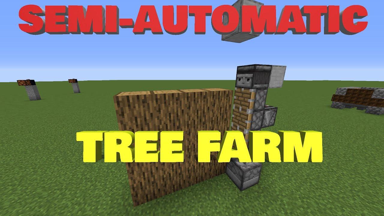 Minecraft INSANELY SIMPLE Semi-Automatic Tree Farm(1.14,1 ...