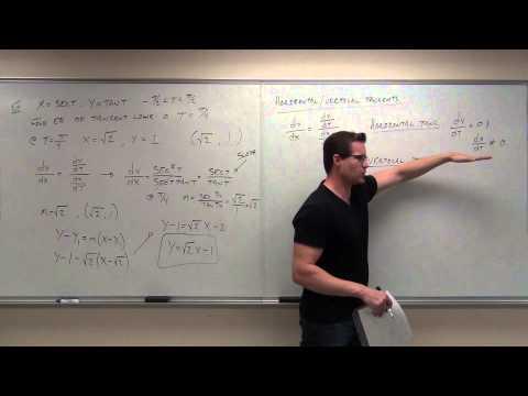 Calculus 2 Lecture 10.3:  Calculus of Parametric Equations