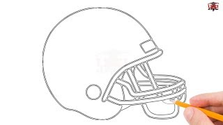How to Draw a Football Helmet Step by Step Easy for Beginners/Kids – Simple Football Drawing
