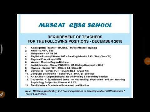 Teacher Vacancy For Muscat