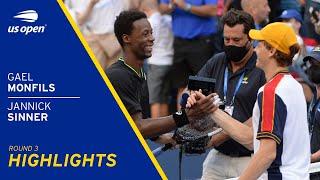 Gael Monfils vs Jannick Sinner Highlights | 2021 US Open Round 3