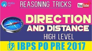 IBPS PO PRE | Direction & Distance (High Level) | Reasoning Tricks |  Online Coaching for SBI IBPS