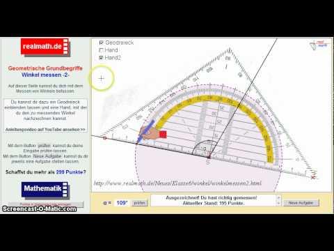 winkel mit einem geodreieck messen 2 veranschaulichung auf youtube. Black Bedroom Furniture Sets. Home Design Ideas