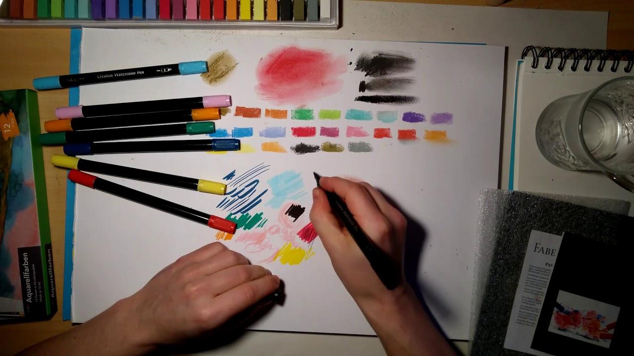 Gunstige Zeichenmaterialien Im Test Pastellkreide Brushpen