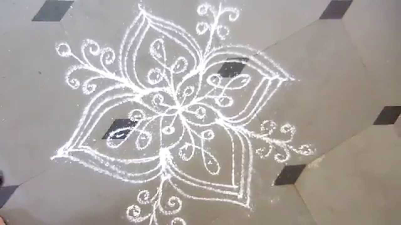 rangoli designs/kolam designs/muggulu daily at home - YouTube