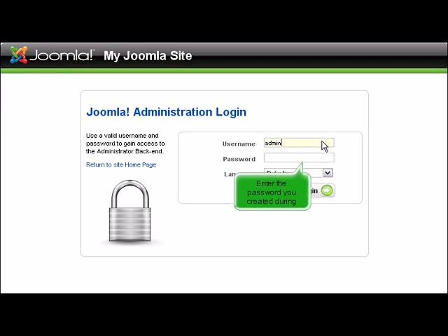 How to log in to Joomla as the default administrator