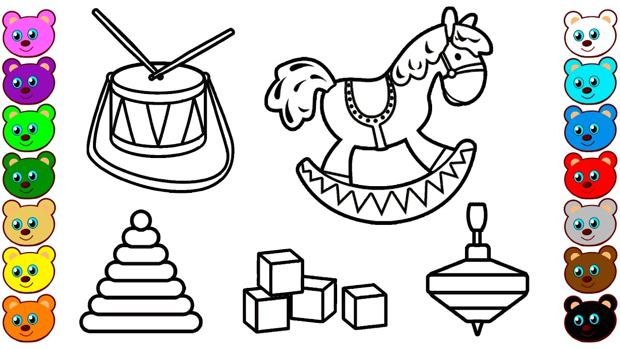 learn colors for children with kids toys coloring pages - Coloring Pictures Of Children