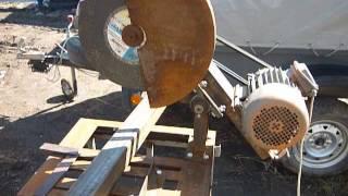 Обзор самодельного отрезного станка по металлу.